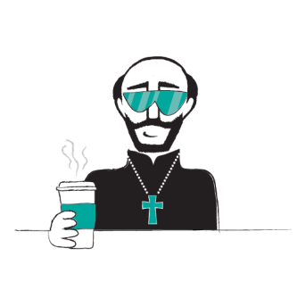 A cartoon of Ignatius Loyola, wearing sunglasses and holding a to-go cup of coffee.