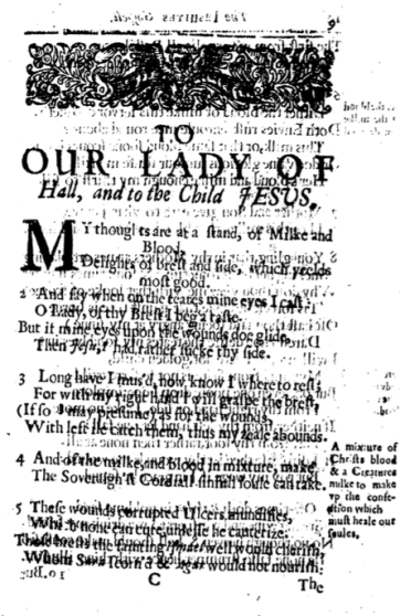 "A poorly copied black-and-white page of text titled ""To OUR LADY OF Hall, and to the Child JESUS""; the rest of the text is half-obscured because text from the opposite side bleeds through."