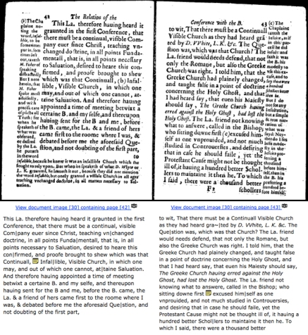 A black-and-white scan of two pages of text fills the top two-thirds of the image; a transcription fills the bottom third. The transcription is filled with punctuation marks to signal line breaks and diacritical marks. Each transcription has a yellow post-it note icon in the middle of sentences. The text that fills the margins of the scan is not included in the transcription.