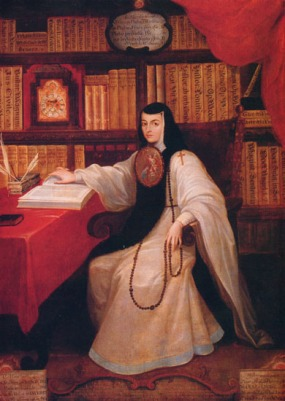 A painted full-length portrait of a nun sitting in a library, paging through a book; she wears a large icon of the Annunciation over her breast.