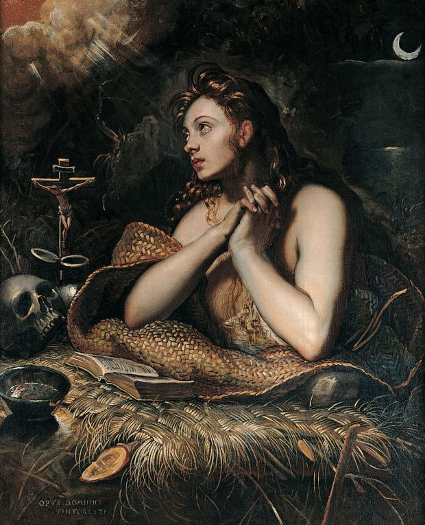 Domenico Tintoretto's The Penitent Magdalene, c. 1598, a painting depicting a half-naked woman praying amid reed mats, a skull, a crucifix, a book, and a bowl. Her brown curls are fabulous.]