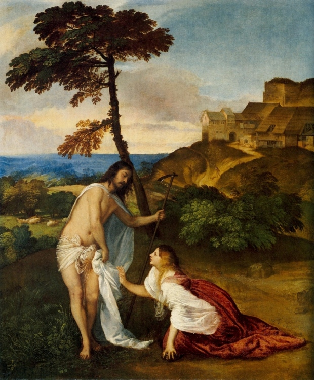 Titian's Noli me tangere, c. 1512, a painting depicting a bearded man, trying to hold his shroud on with one hand with a staff in his other, as a woman in red and white crawls toward him, her right hand raised; a village on a hill and farmland are in the background.]